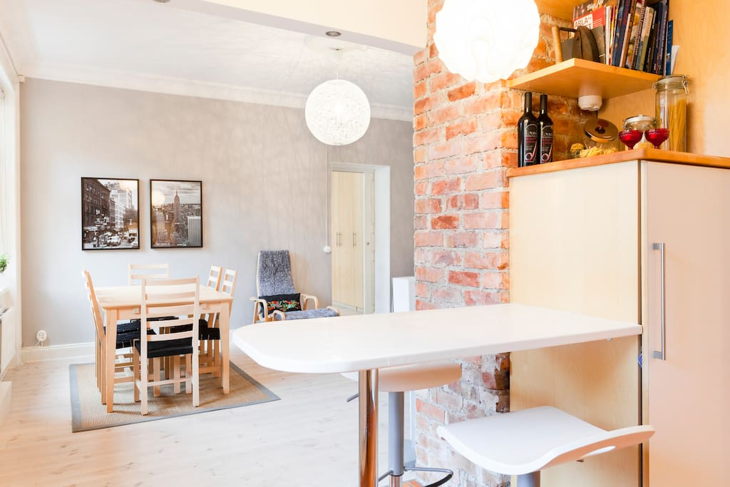 Eating areas - one in the kitchen and dining table in the living room
