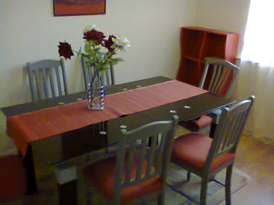 Large dining area can seat 8