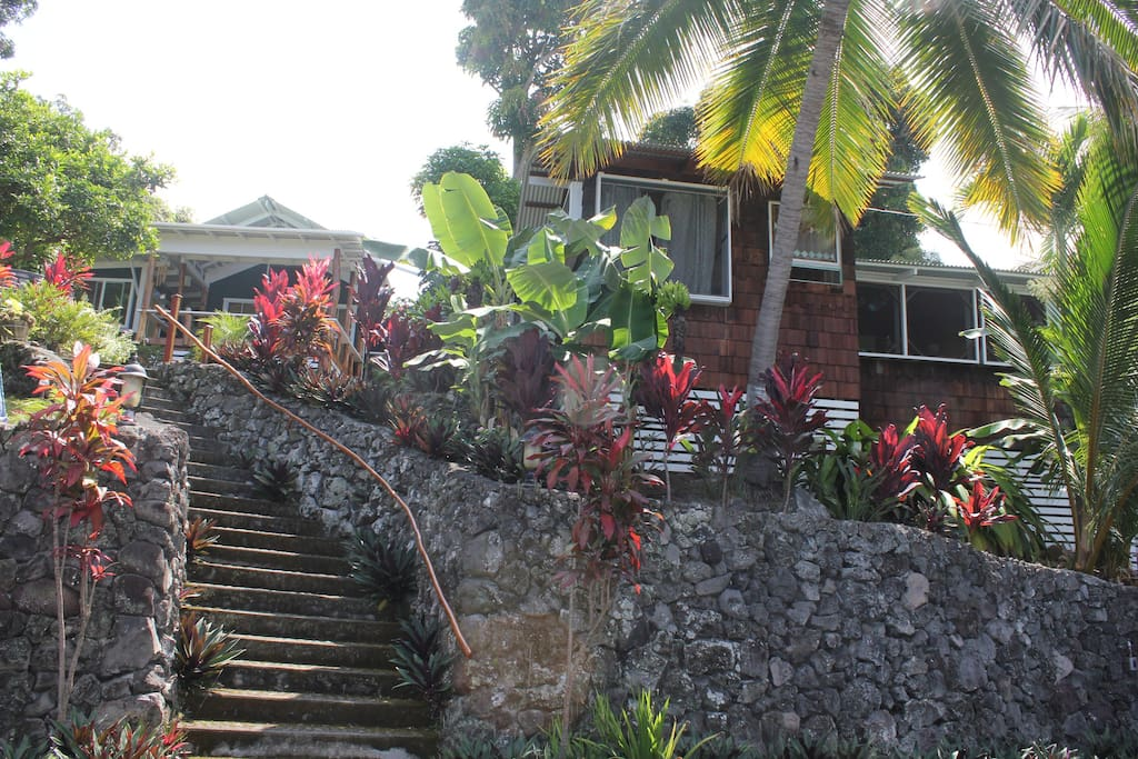 Stairs up to main house and cottage