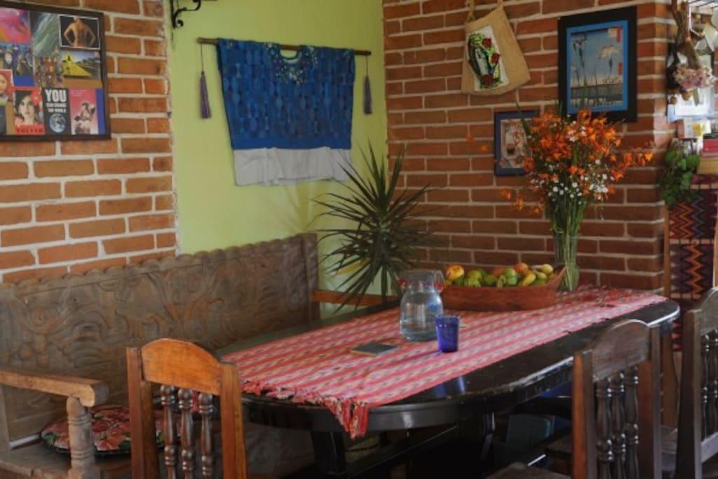 Enjoy lots of gorgeous Guatemalan textiles as you eat your breakfast.