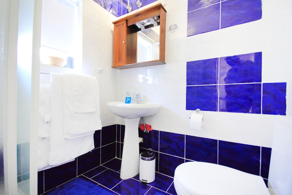 Bathroom with standing shower, towels and toiletries.
