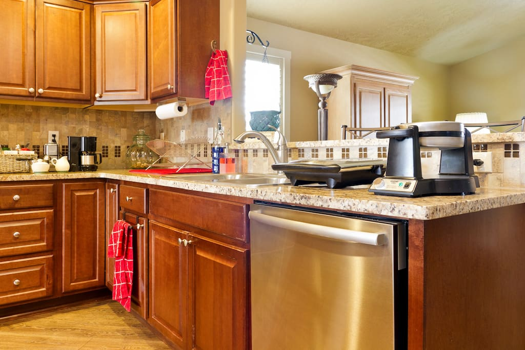 Open airy kitchen with plenty if space and amenities.