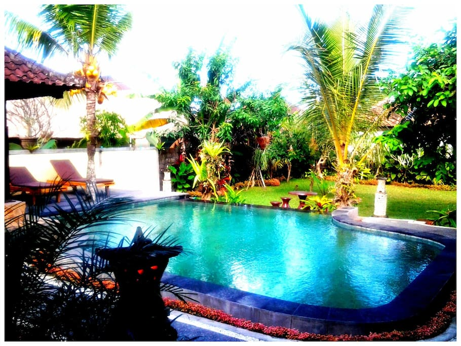 View of shared garden pool & relaxation area from bungalow 1.