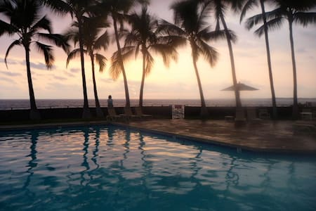 The spacious 2 bedroom/2 bath Apartment is located at the Ocean front Royal Sea Cliff Resort on the famous Ironman run course on Alii Drive, 2 miles to Kailua Kona Pier and less than 1 mile to center of Kailua - Kona Town on the beautiful Big Island.