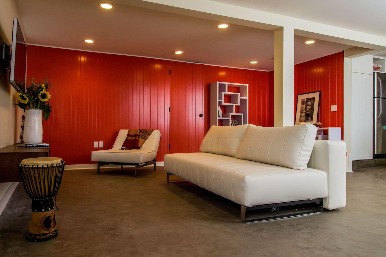 Mod Living Room with open floor plan