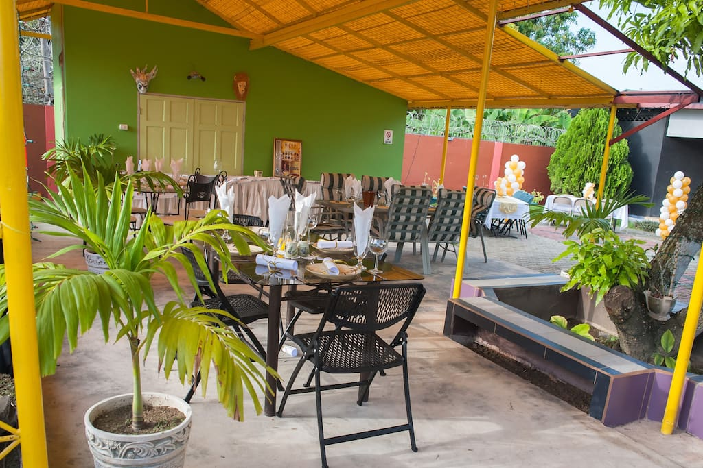 Alfresco dining is offered upon request