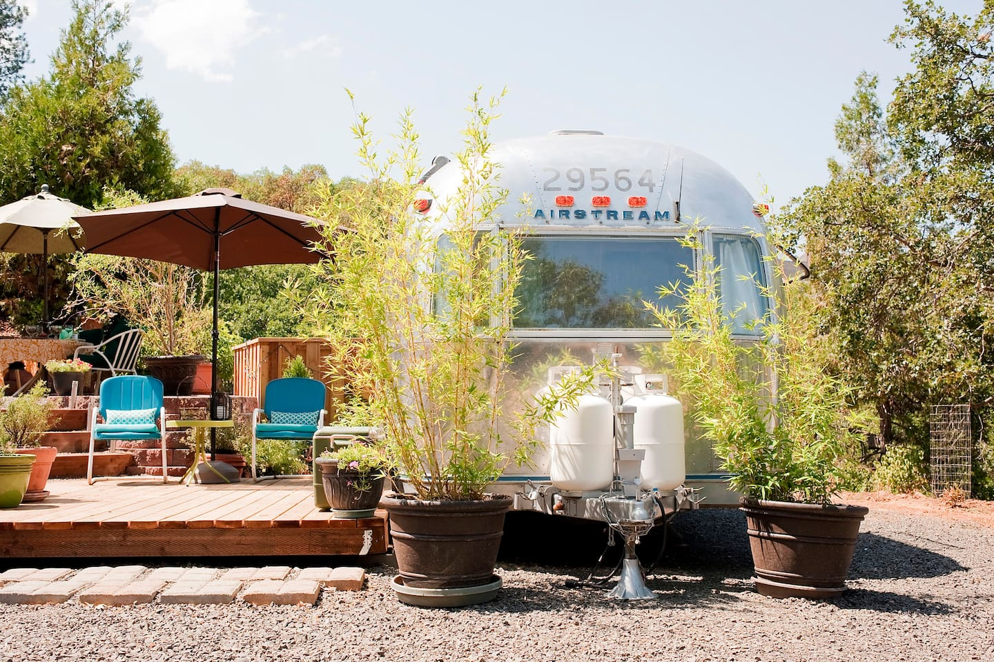 Your 1973 vintage Airstream with outdoor spaces.