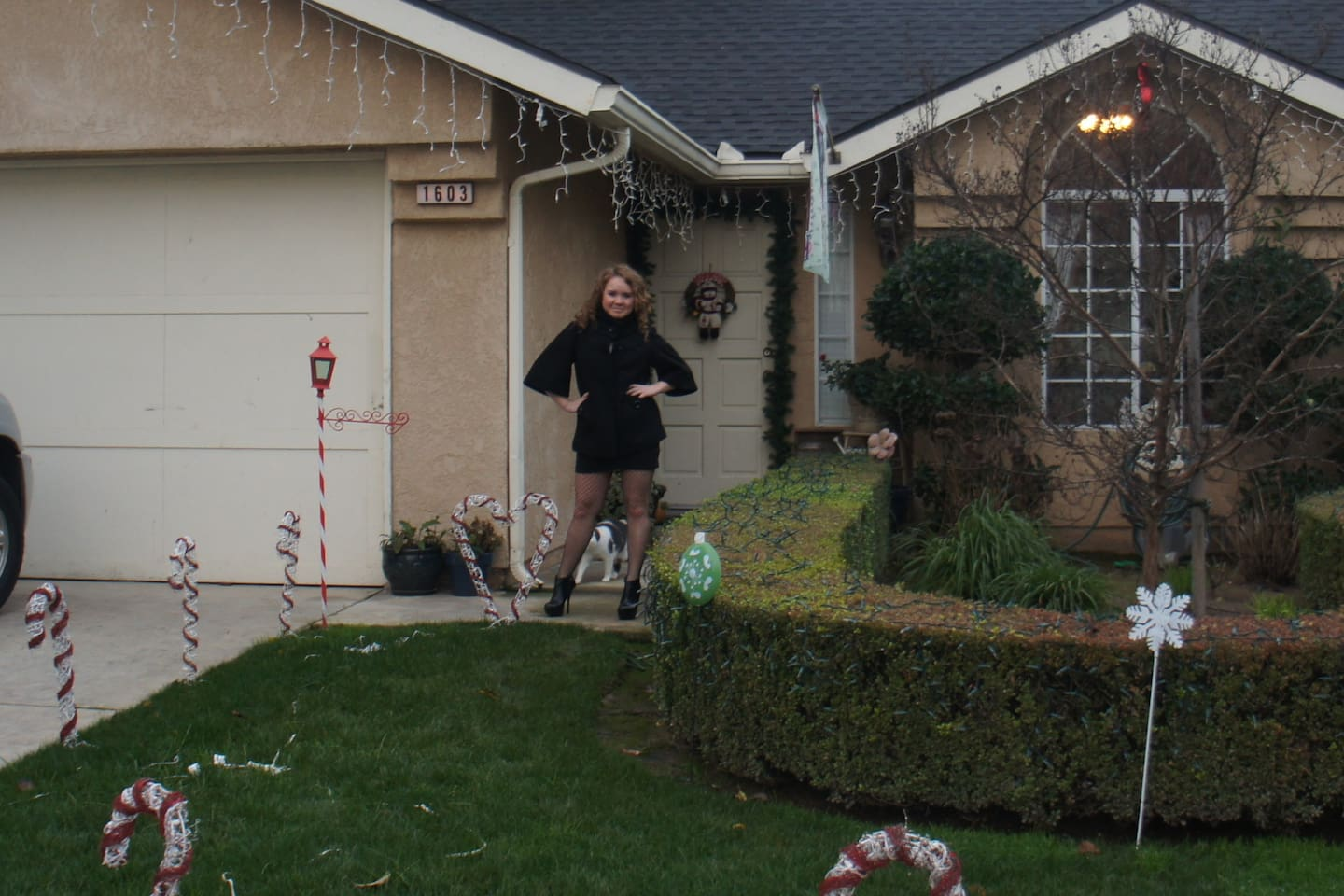 Front of the house at Christmas time.