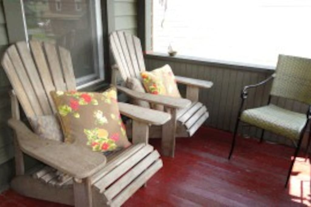 (Adirondack chairs sold...but comfy low folding with head pillows replacing them...we like comfy)