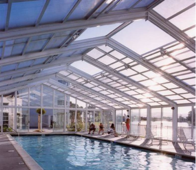 Pool area with retractable roof
