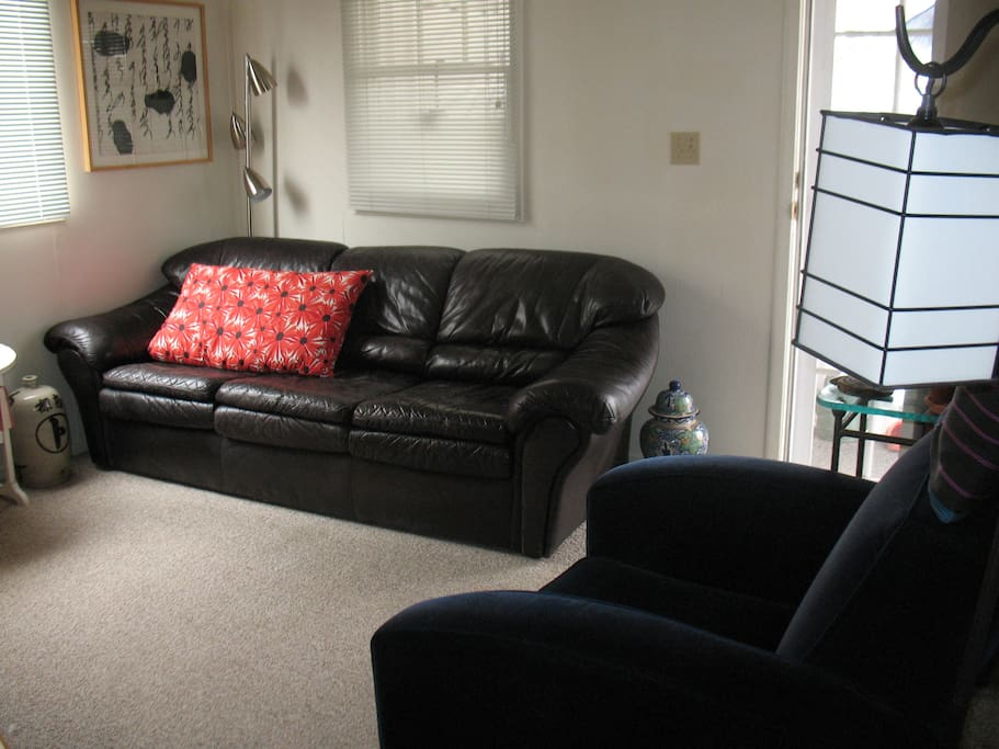 Living room with flat screen TV and stereo.  Couch is very comfy for sleeping!