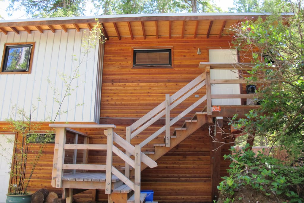 Front steps up to your modern studio suite in the trees