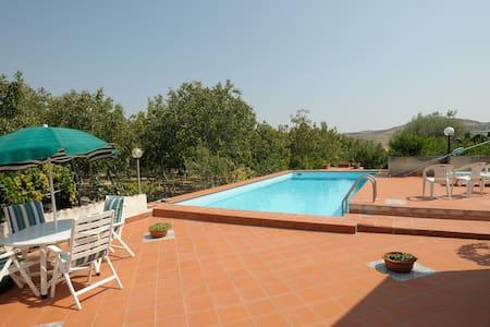 villa pool surrounded by greenery - Racalmuto - Villa