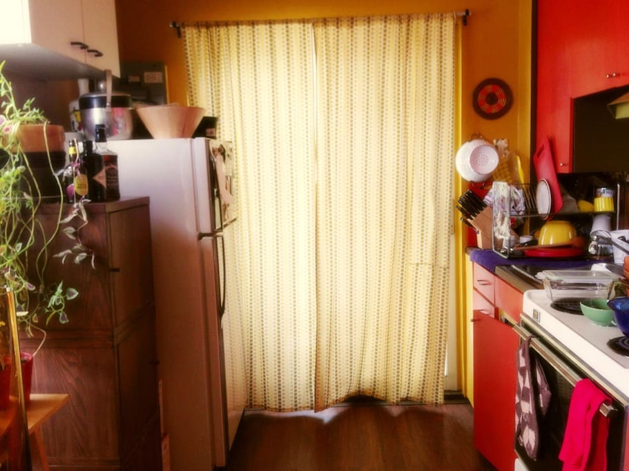 Kitchen. Large balcony behind the curtains!