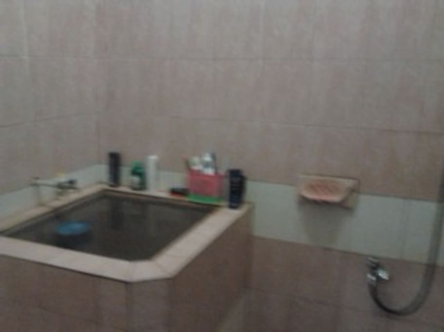 kamar mandi kloset jongkok dan shower + bak air