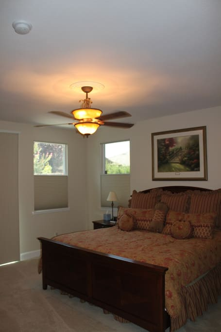 Partial view of the large king bed master bedroom. Features a Sealy spring free foam latex mattress.