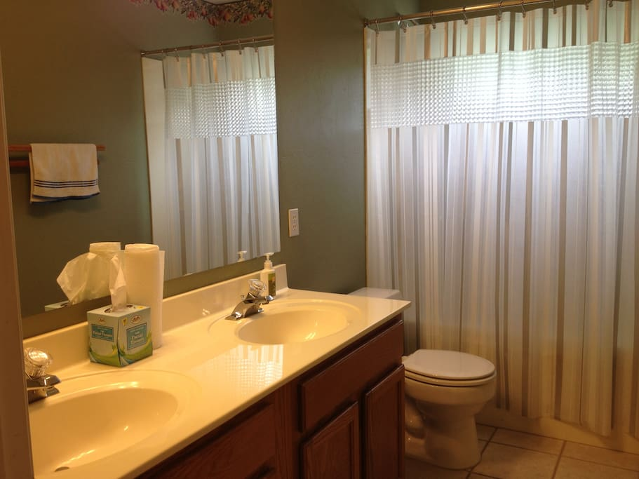 Guest Bath with tub and shower just outside your bedroom. Plenty of counter space.