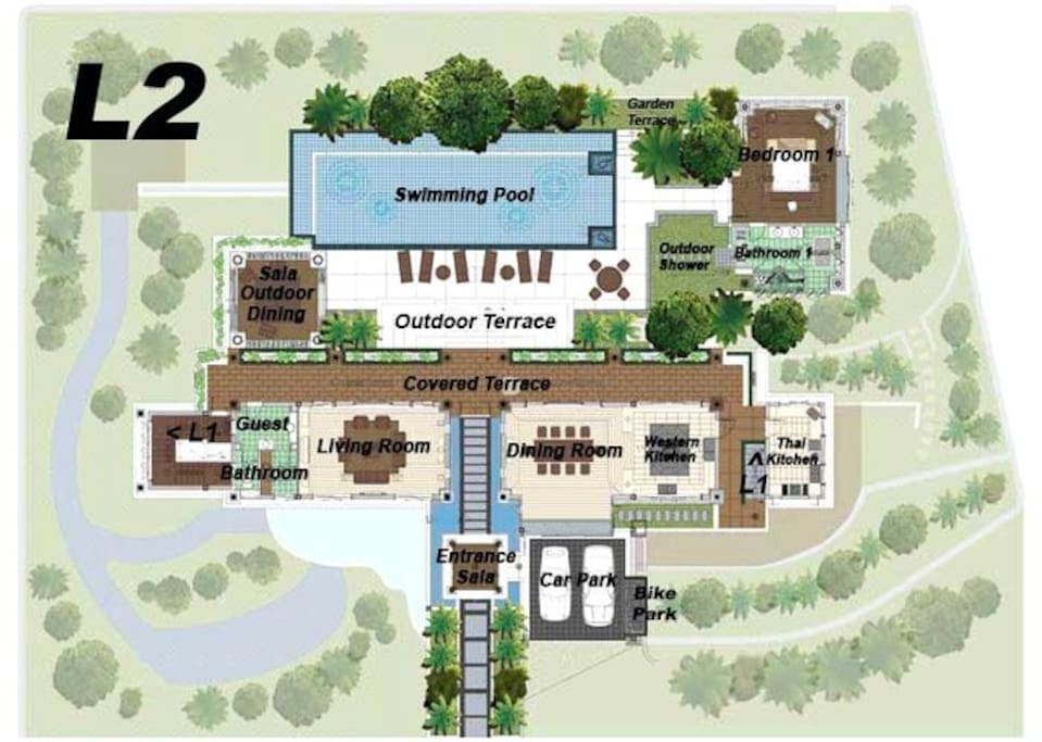 Floor Plan Level 2. Villa Surin is accessed from this level.