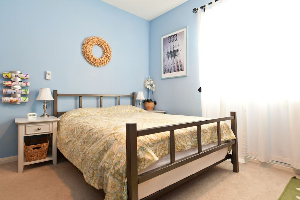 Blue Room, 14x10, Queen Plush Bed, Walk-in Closet, 40in Smart TV, Ceiling Fan with Remote