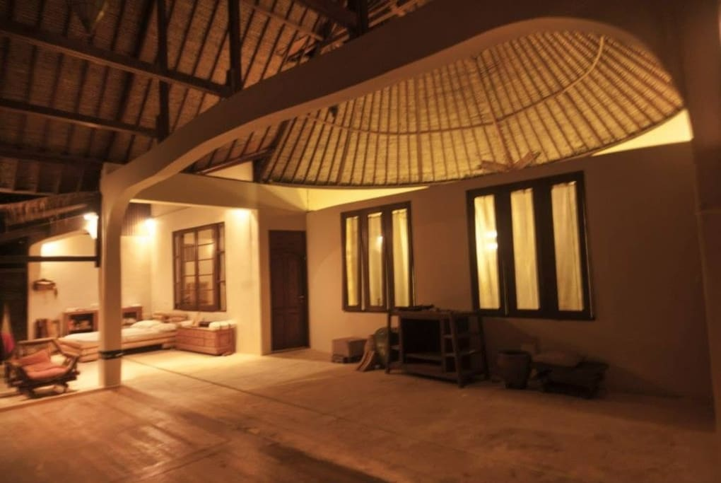 This is the second floor where you get to enjoy the view, do yoga or qi gong, lounge on the Hammock or day bed. You can eat up here or in the Warung on the first floor.