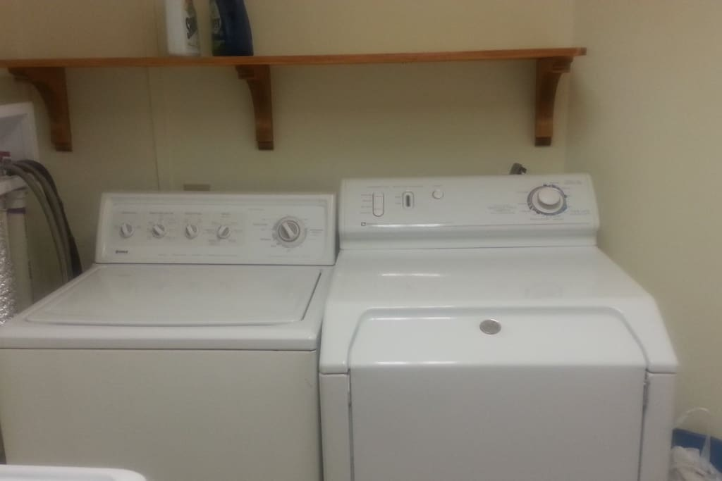 Full washer/dryer.  We also have an iron and ironing board.