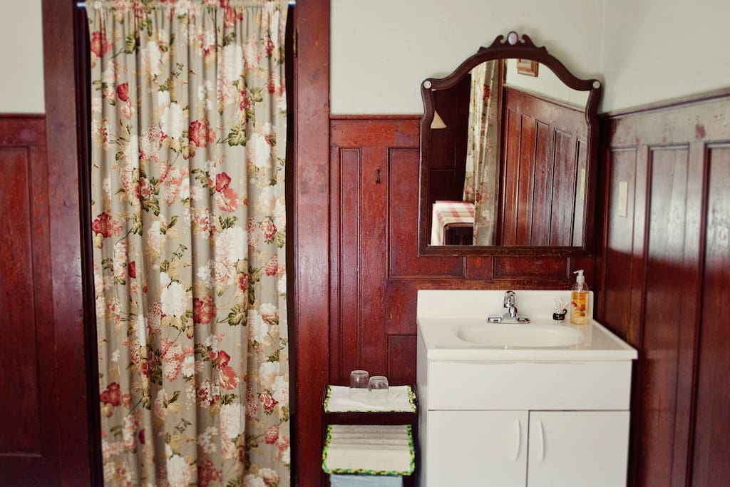 Sink in your room, just like the old boarding houses, fresh & clean bath just down the hall.