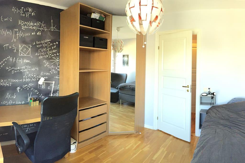 Room has desk and closet
