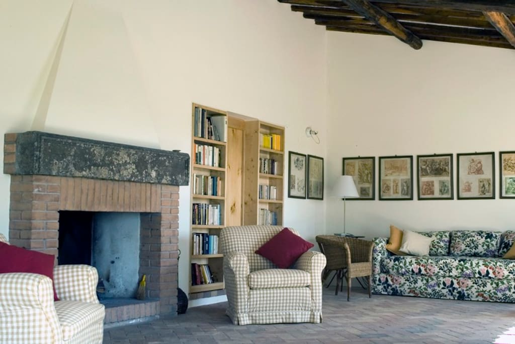 Apartment in charming Umbrian Farmhouse - living room, fireplace detail