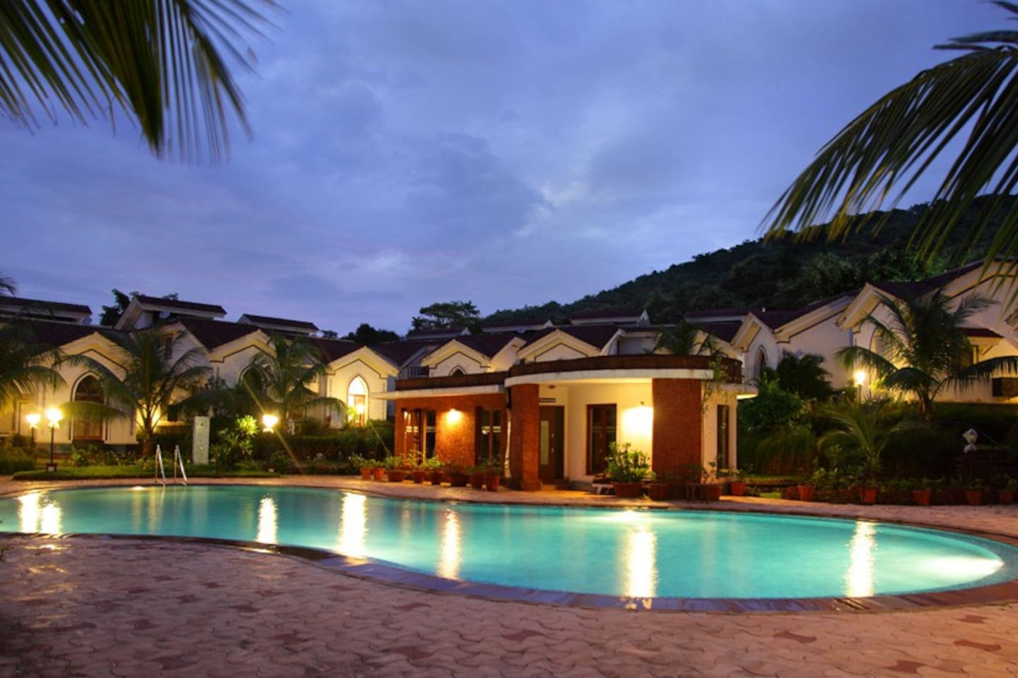 Evening view of pool area - serene & romantic !