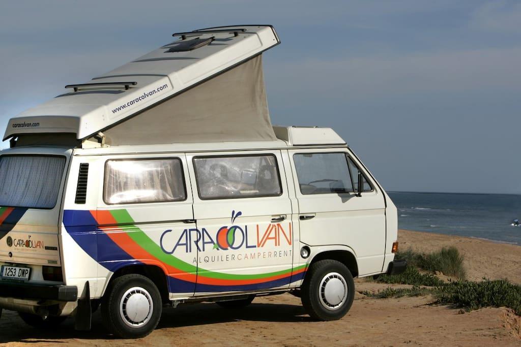 Vw t3 t25 camper van cadiz tarifa camping cars for Camping jardin de las dunas tarifa