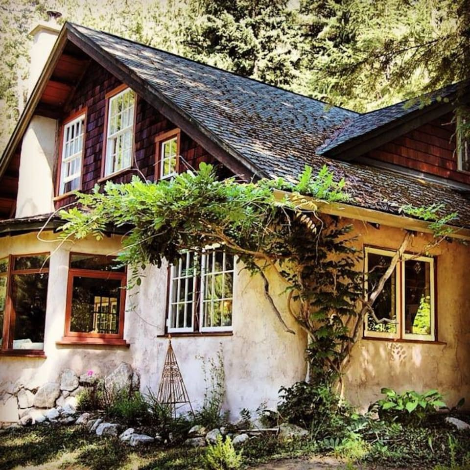 A rustic whimsical straw-bale cottage at the edge of the forest