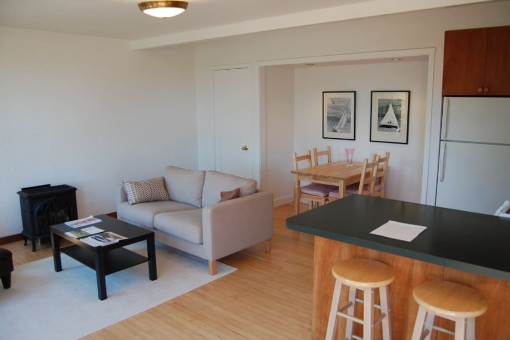 The dining nook comfortably seats four people