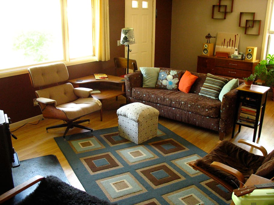 Shared living room, with wood stove.