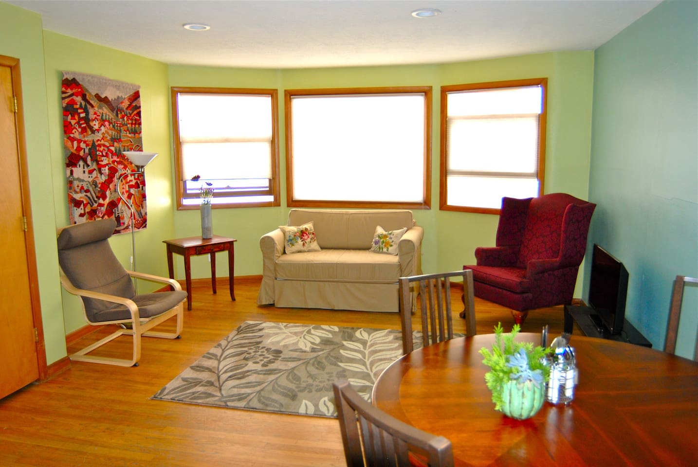 Great natural light shines through these windows. New couch.