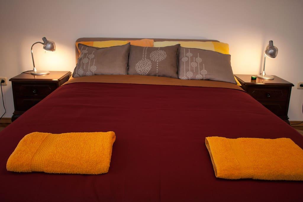 Bedroom one high queen size double bed