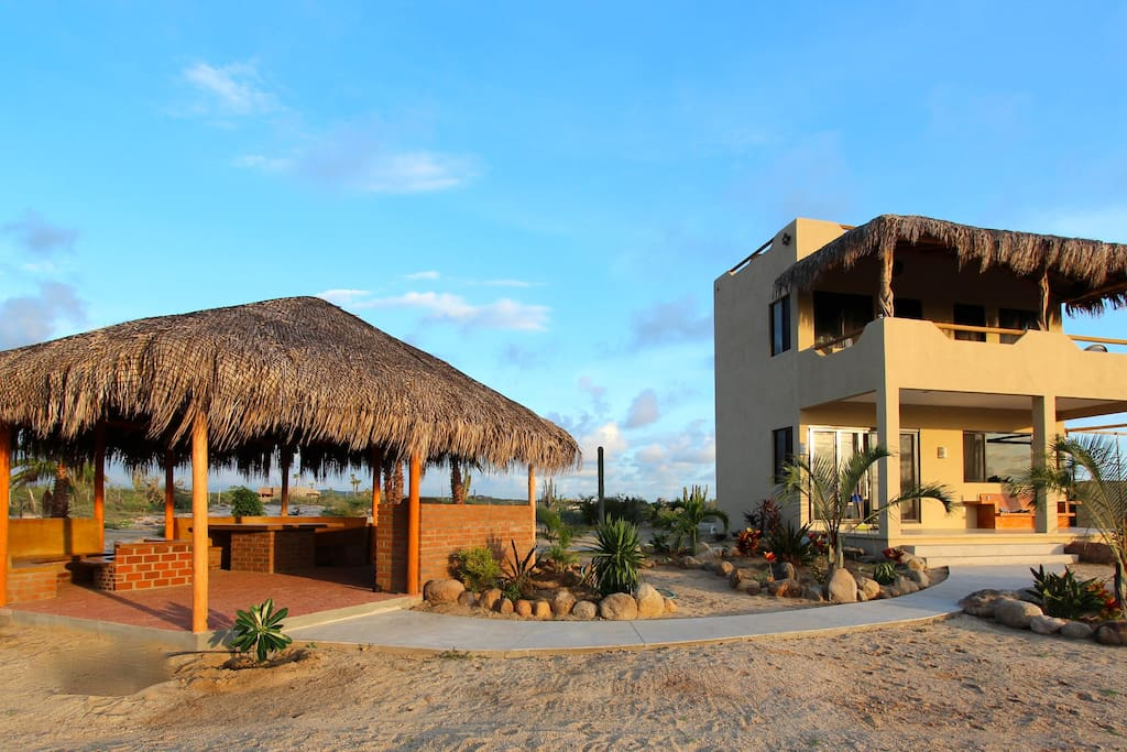 House #2 Private beautiful and relaxing palapa. Built in gas fire pit & BBQ.  Seating for 10 ppl.  Surf views!