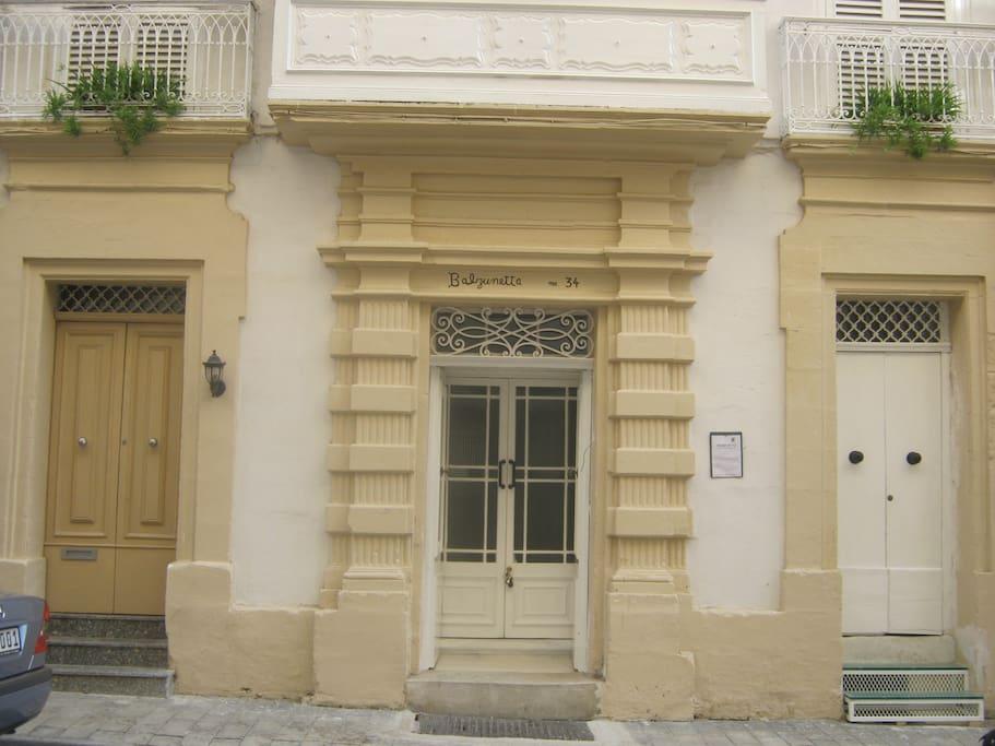 The original stone work on the Maltese facade.