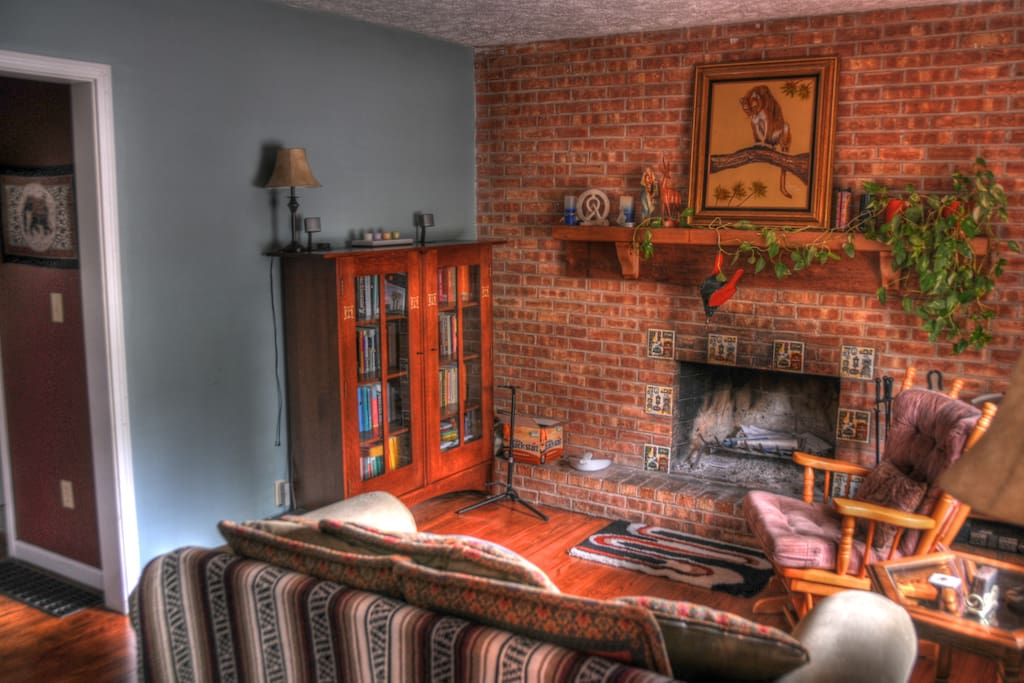 Sitting room with working fireplace
