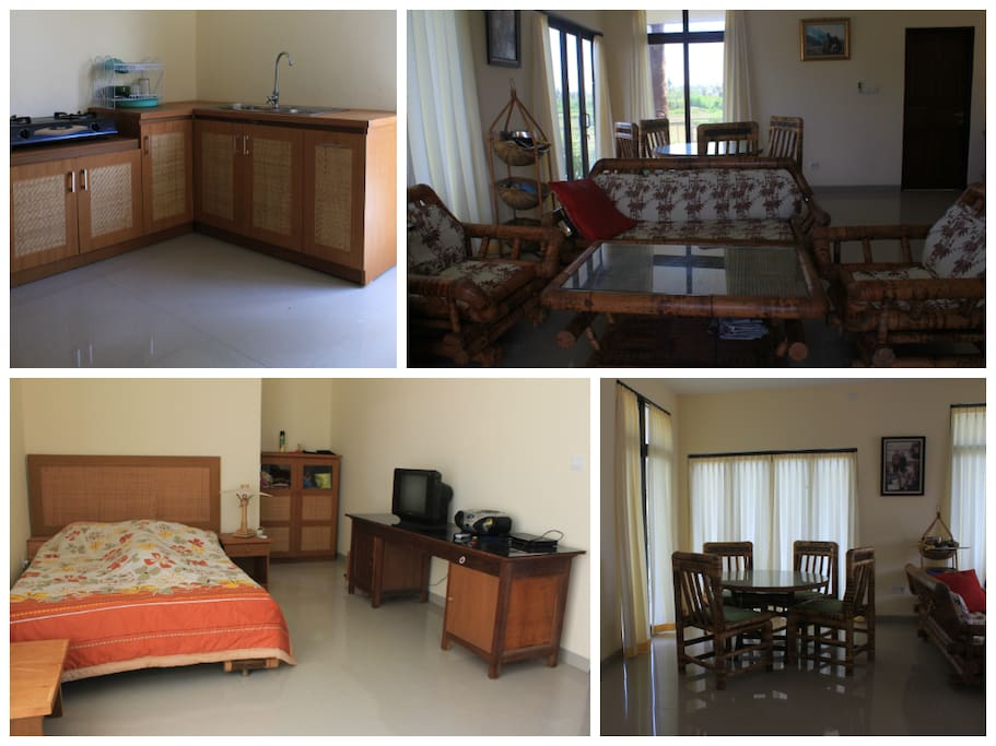Clean and simple home with 2 bedrooms & 2 bathrooms, living room, dining room and kitchen.