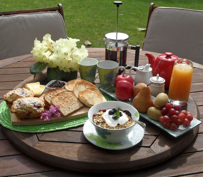 Breakfasts vary but always include homemade cereals fruit and baking and a selection of breads and spreads!