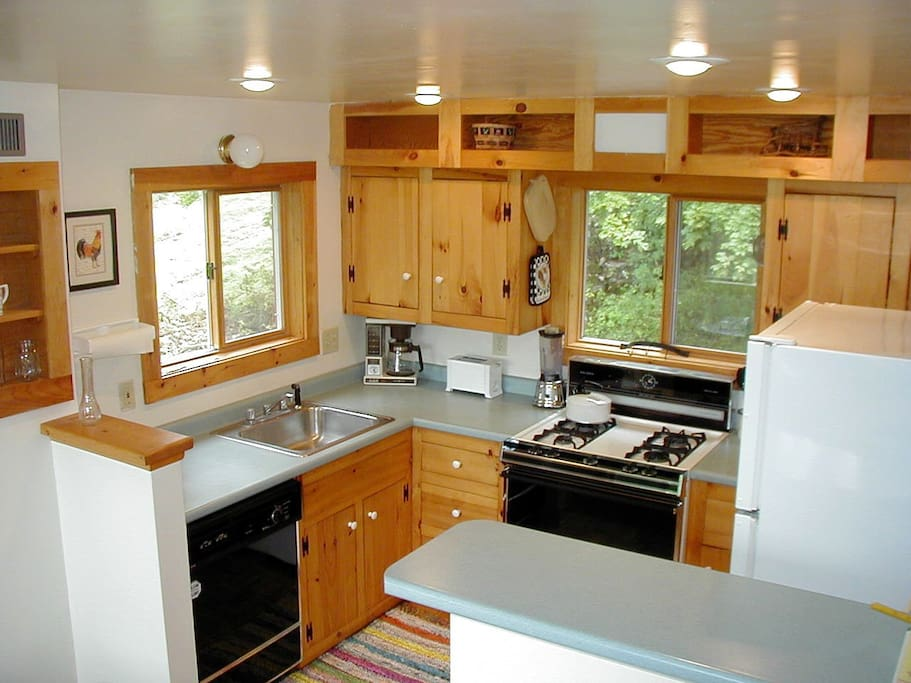 fully equipped modern kitchen with dishwasher, microwave, coffee maker, toaster, etc.