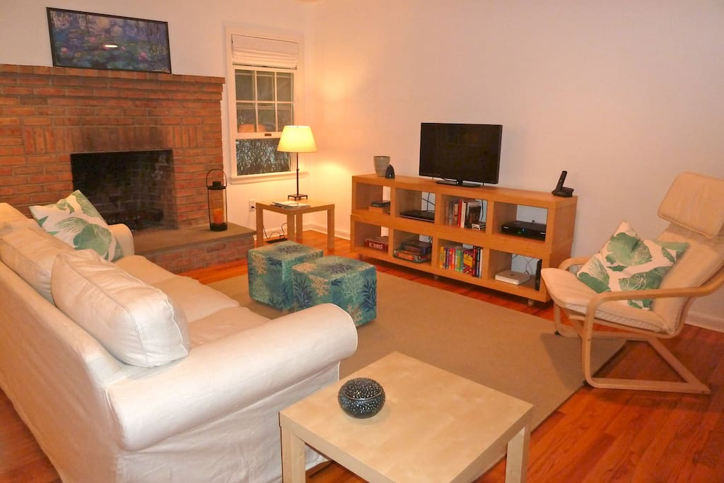 Comfy living room with flat screen TV and DVD player