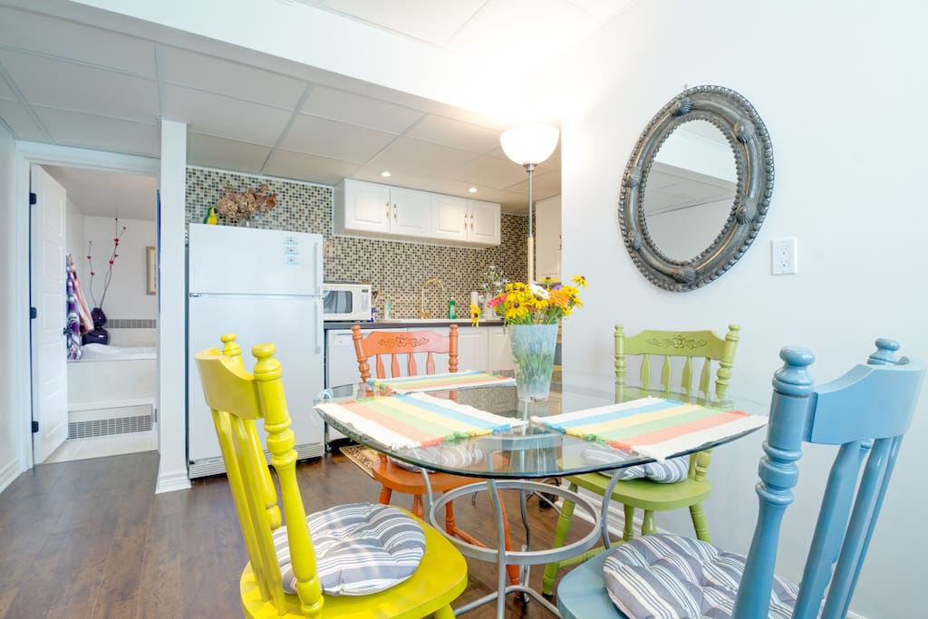 Eating area is colorful, fresh and relaxing