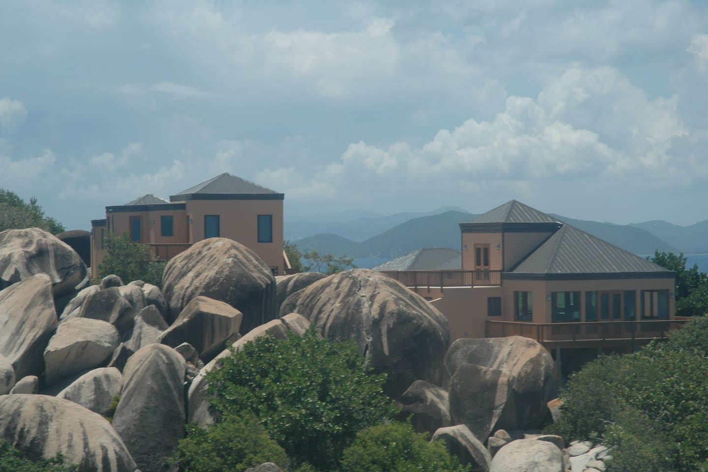 Amateras was built in and around the boulders for which Virgin Gorda is famous.  Sitting on the highest point on the Baths side of the island offers spectacular views of sunrise and sunset.