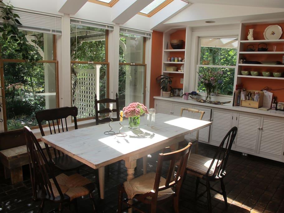 Enjoy breakfast in the solarium/dining room