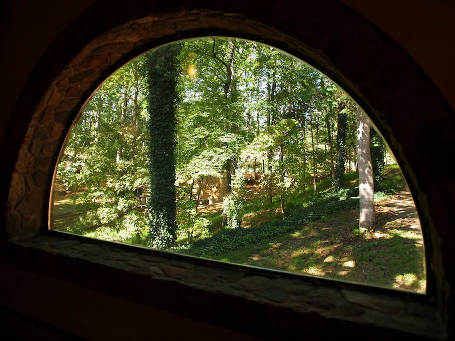 View through the stone arch window.