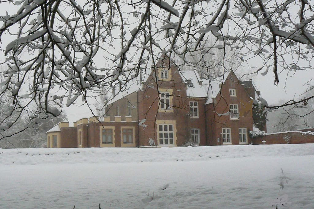 Rear View of Hall in Snow - West Wing on Left Hand Side