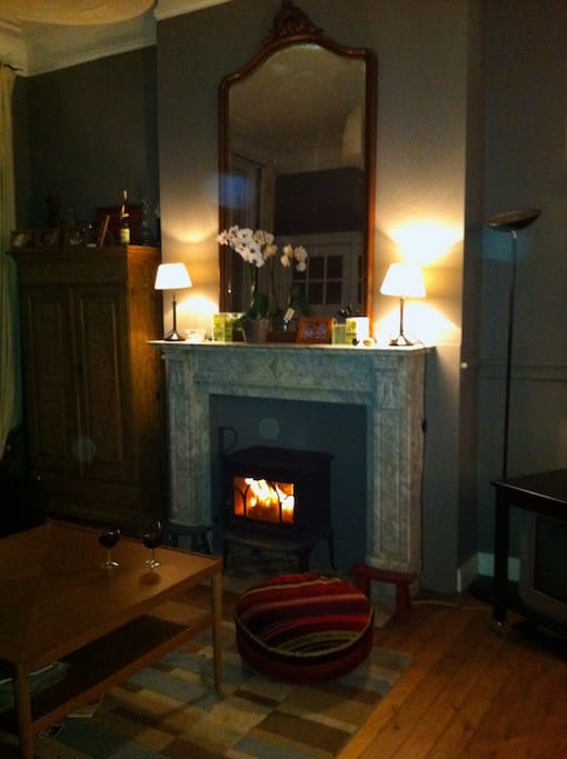A cosy fireplace with wood in stock