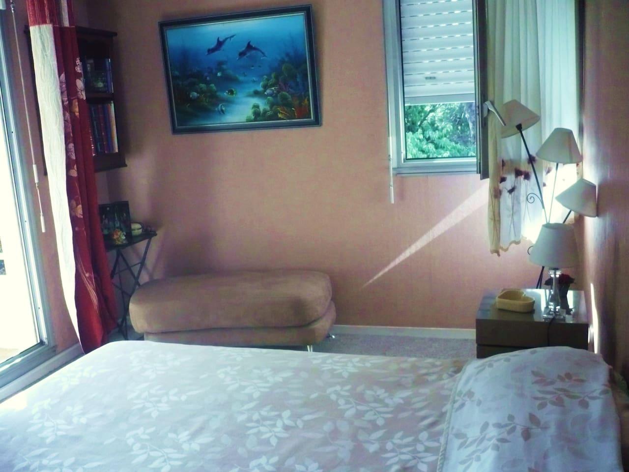 grande chambre lit en 160, calme , claire donnant sur terrasse