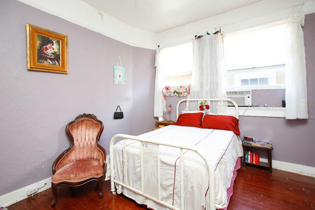comfortable, clean double bed in bedroom